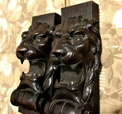Pair roaring lion carving corbel bracket Antique french architectural salvage