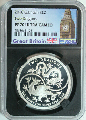 2018 Great Britain  Pure Silver 2 Pounds Two Dragons NGC PROOF 70 ULTRA CAMEO