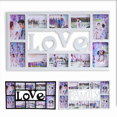 Family 10 Multi Aperture Photo Picture Frame Holds Photos Black & White
