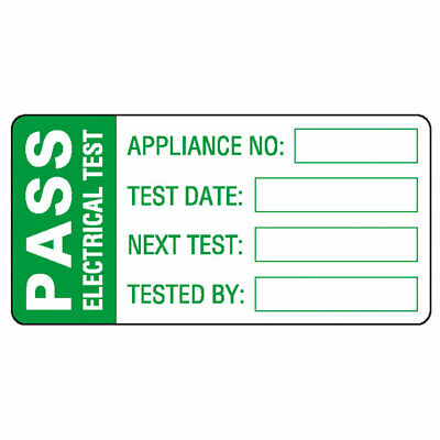 Pass Electrical Test Labels, Green Mark & Seal, 60 x 30mm, Roll of 500