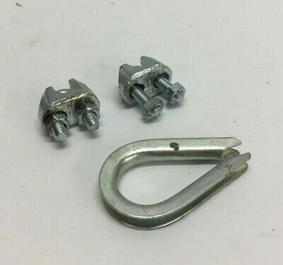 "Wire Rope Clip & Thimble Kit 1DKK4 Dayton U-Bolt, Steel, 1/8"" For Wire Rope Dia."