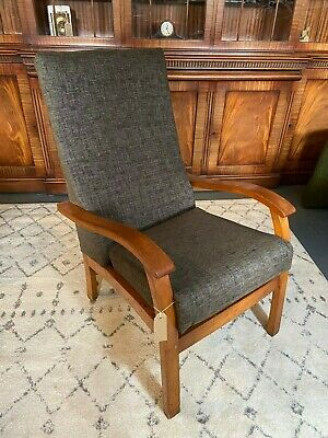Vintage 1950s Mid Century Armchair Fireside Chair Recovered Grey Fabric