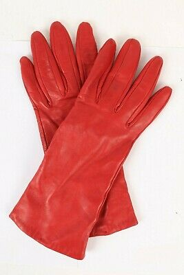 NORDSTROM Red Leather Cashmere Lined Gloves Womens Size 7.5