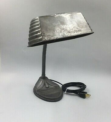Antique Desk Lamp with Steel Shade and Cast Metal Base, New Wiring!! Great Cond!