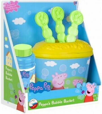 Boys Girls Peppa Pig Character Bubble Bucket Playset  Great for Kids **NEW**