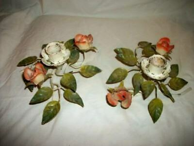 Italian Tole Roses Candle Holders Chippy Wonderful Vintage Early Mid Century