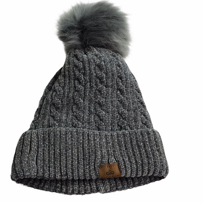 Page One Brand Beanie Hat Cap, Gray Grey Color.  Chenille Cableknit Pom Pom Po