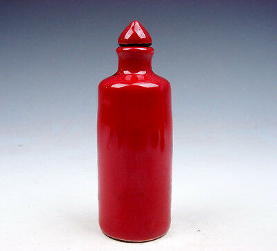 Antique Monochrome Ox-Blood Red Porcelain Tube Shaped Snuff Bottle #07141705