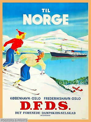 """Vintage Travel//Skiing Poster A1A2A3A4Sizes NORWAY../""""The Cradle of Skiing/"""".."""
