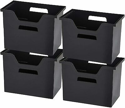 Portable Desktop File Organizer Storage Box 4 Pack Black For Office And Home