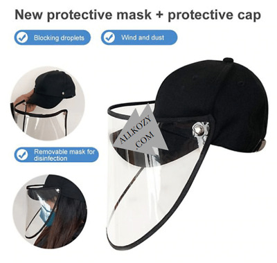 Anti Droplet Safety Face Shield Windproof Dust  Hat Full Protective Baseball Cap