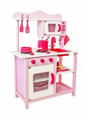 White Large Kids Wooden Play Kitchen Children/'s Role Play Boys Girls Set Toy