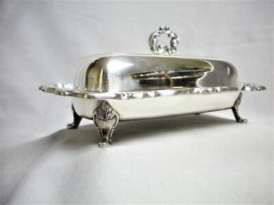 Vintage Wm Rogers Footed Butter Dish, Cover & Glass Insert Mint Silver Plate