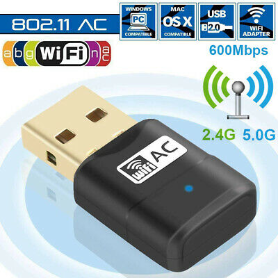 2.4G/5G WiFi Adapter 600Mbps Wireless WLAN Dongles Stick USB Dualband AC-Speed