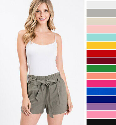 Women's Linen High Waist Shorts Paperbag Belted Tie Front Pockets Solid Casual