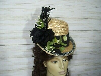 Victorian Straw Hat 1800s Style Hat Vintage Style Tea Party Edwardian Civil War