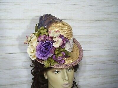 Victorian Vintage Style Straw Hat 1800s Style Hat Tea Party Edwardian Civil War