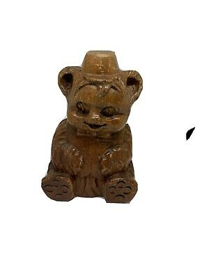 """4.5"""" Tall Hand Carved Wood Smiling Bear With Hat On & Bow tie"""