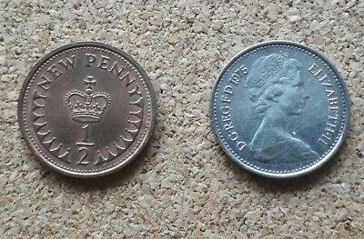 Unusual 1975 QE II Silver (or plated) Half Penny poss mule previously mounted