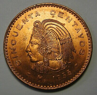 1956 Mexico 50 Cinquenta Centavos Grading Gem BU Red Blazing Luster None Finer