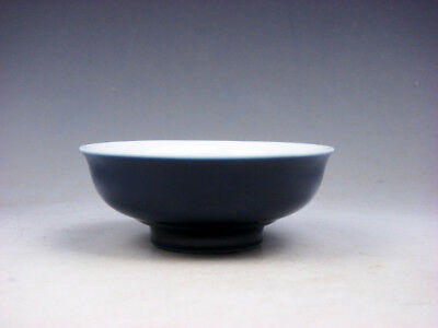 Monochrome Pure Dark Blue Glazed Porcelain Saucer Bowl #07231806