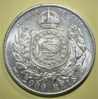 Brazil - Brasil 2000 Reis 1889 Brilliant Uncirculated Silver Coin - Nice!!!