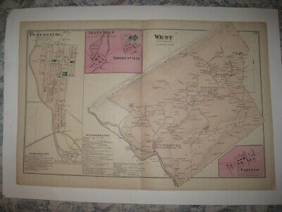 Antique 1873 West Township Petersburg Huntingdon County Pennsylvania Handclr Map