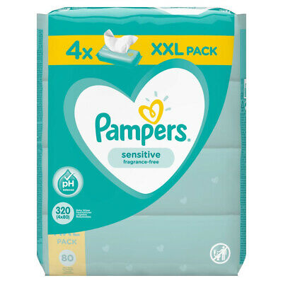 4 x XXL Pack Pampers Fresh Clean Baby Wipes - 80 Wipes x 4 Packs