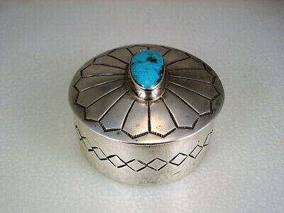 Fabulous Old Navajo Stamped Sterling Silver & Morenci Turquoise Trinket Box