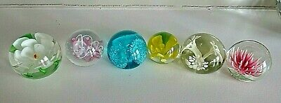 Lot of 6 Art Glass Paperweights Group Set FLOWERS
