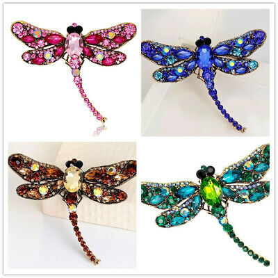 UK Ladies Brooch Large Dragonfly Sparkling Gift Jewellery Accessories Gift