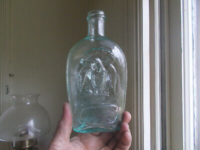 1860s CRUDE DOUBLE EAGLE PINT HISTORICAL FLASK BOLD EMB REAL NICE!