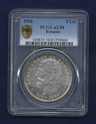 Romania Carol I  1906  5 Lei Silver Coin Almost Uncirculated Certified Pcgs Au58