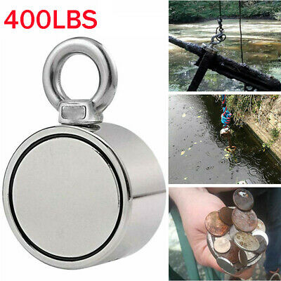 400LBS Round Silver Double Sided Super Strong Fishing Magnet Pulling Force
