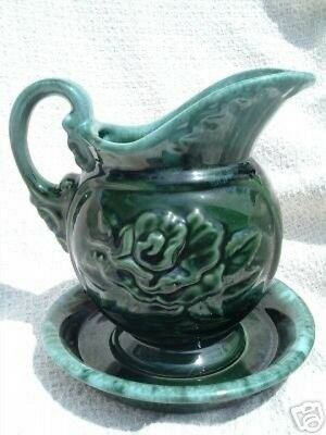Hull Pottery USA Green Agate Drip Glaze #A50 Embossed Rose Pitcher & Under Plate