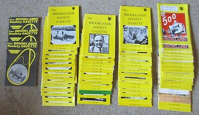 COLLECTION  100 + `BROOKLANDS SOCIETY GAZETTE` 1980/90`s ALL LISTED. MOTORSPORT