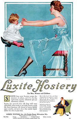 Coles Phillips Fade Away LUXITE HOSIERY Mother & Baby Girl 1918 Large Print Ad