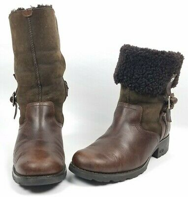 UGG Bellvue II Boots Espresso Brown Suede Leather & Shearling - Size 8