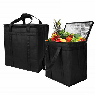 2 Pack Reusable Grocery Bags Heavy Duty Nylon Tote Insulated Thermal Cooler Bag