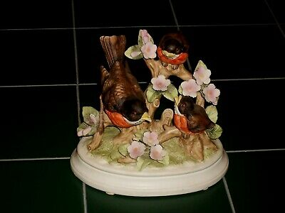 1982 Royal Crown Arnart Porcelain Mother & Baby Robins Figurine Signed J Byron