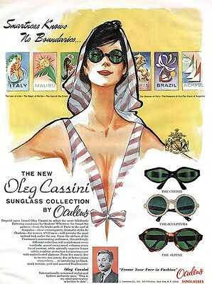 Oleg Cassini Oculens Sunglasses CHERIE Sculptura ALPINE Magic of Malibu 1965 Ad