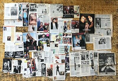 MASSIVE Lot 100+ BUFFY THE VAMPIRE SLAYER & ANGEL Cast Newspaper Mag CLIPPINGS