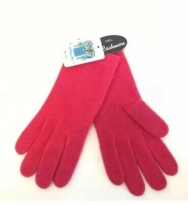 New Portolano Womens Pink 100% Cashmere Classic Winter Gloves One Size