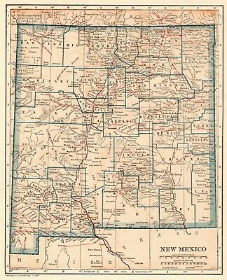 1921 Antique NEW MEXICO State Map Original Vintage Map of New Mexico 7659