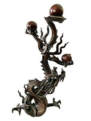 "Superb 19th Asian Bronze Dragon Candle Holder 13.5"" H"