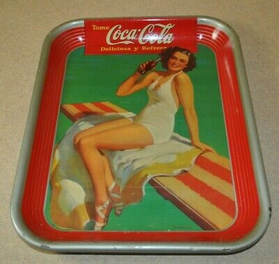 1939 Coca Cola *Diving Board Mexican Metal serving Tray *Authentic