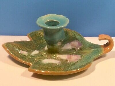 Candle Holder Antique Majolica Bell Flowers & Leaf Chamber Stick c.1800's