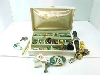 Vintage Mens Junk Drawer Box - Cuff Links - watch - pen - lighter -misc