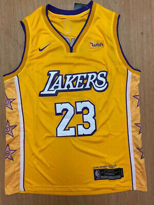NWT LEBRON JAMES #23 Los Angeles L.A. Lakers Men's Stitched YELLOW ...