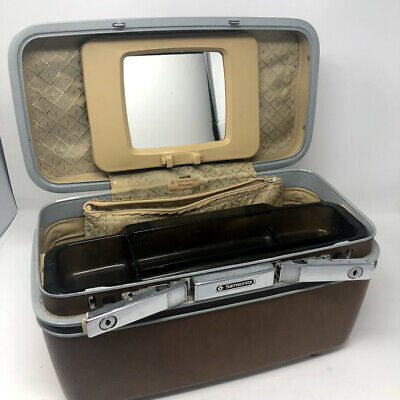 Vintage Samsonite Luggage Brown Cosmetic Carry On Train Case Tray Mirror